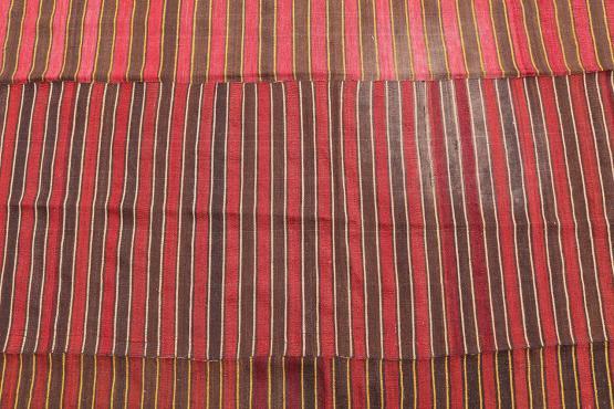 60394 Turkish Modern Handmade Striped Flatweave Textile Rug - 5