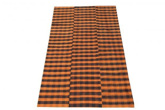 60395 Turkish Modern Handmade Striped Flatweave Textile Rug - 9′3″ × 5′7″