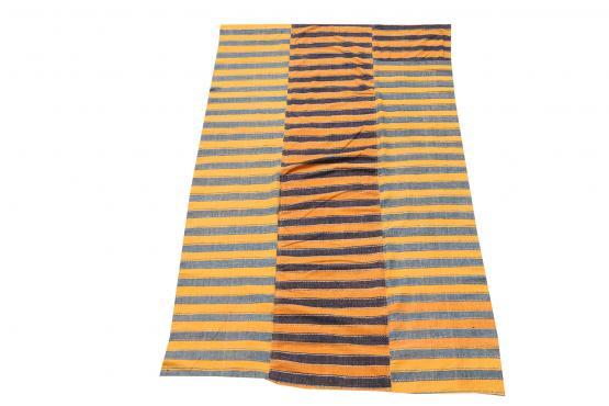 60406 Turkish Modern Handmade Striped Flatweave Textile Rug - 5′4″ × 8′7″