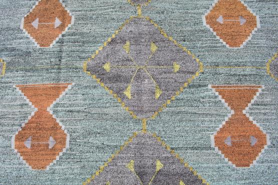 61330 Turkish Kilim Woven with old Wool 12'3