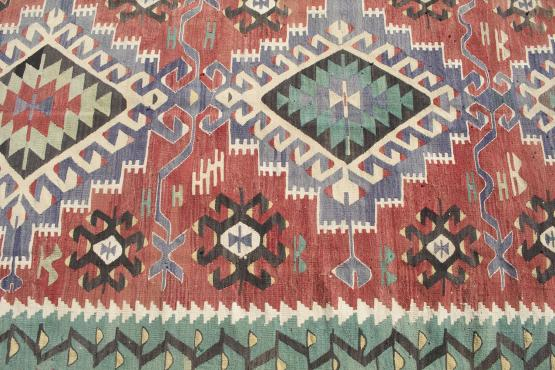 61344 Antique Turkish kilim 8'1