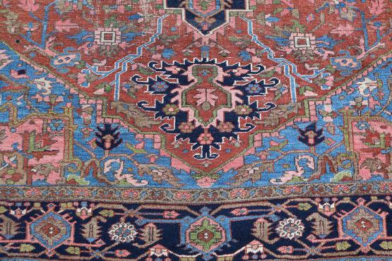 61435 Antique All Wool Persian Heriz 11'4