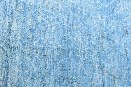 White and Blue Moroccan Wool Rug - 7'11