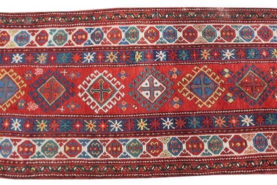 61962 Antique Kazak All Wool 3'3'x11'8