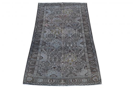 62290 Vintage Persian Bakhtiar Dark Blue and Olive 9'7