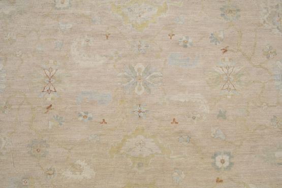 61427 Hand Made Ushak Turkish UT-2001 Wool Pink Gold 9'3
