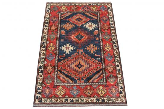 C60475 Hand-Knotted Afghani Rug - 3′2″ × 4′10″