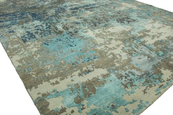 QE-475 Cosmic Hand Knotted Rug Color Blue Grey