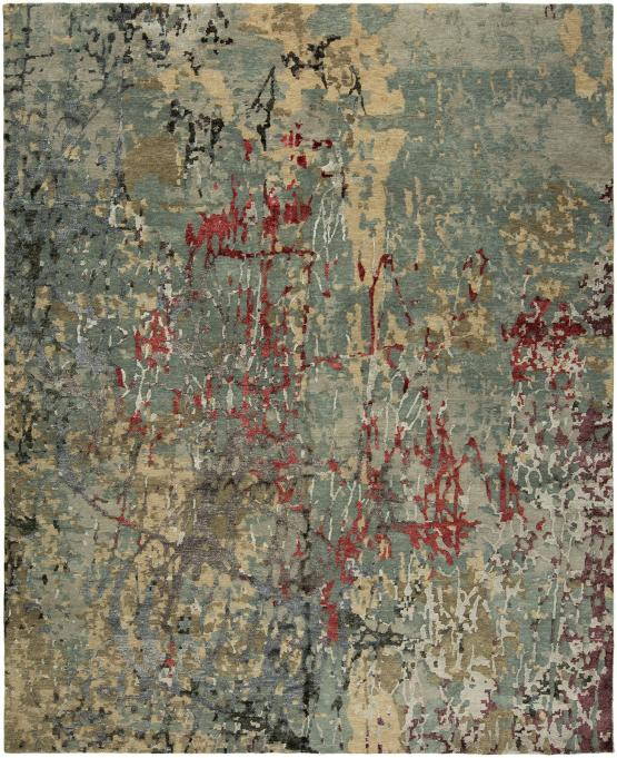 QE-675 Cosmic Hand Knotted Rug Color Pearl Grey