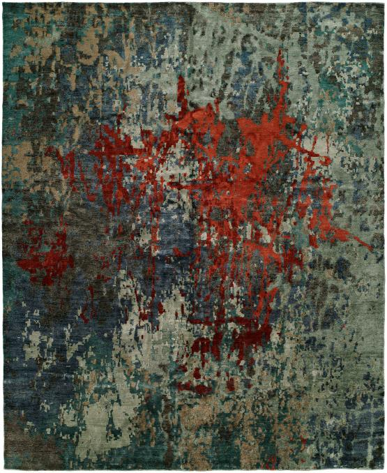 NJ-870 Jolie Hand Knotted Rug Color Multi Blue Scarlet