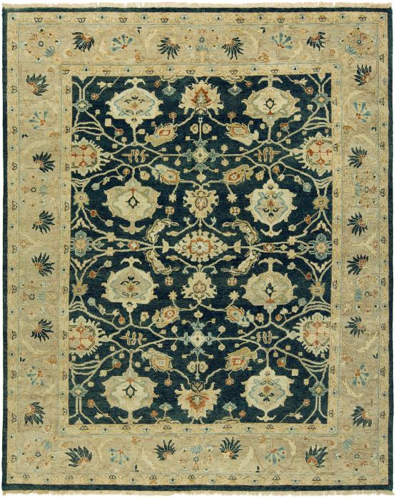 OU-464 Oushak Hand Knotted Rug Color Blue