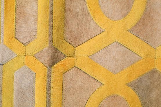Custom Cowhide Trim Taupe/Gold