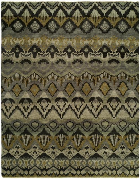 An053 Artisan Hand Knotted Grey khaki- 6'x9'