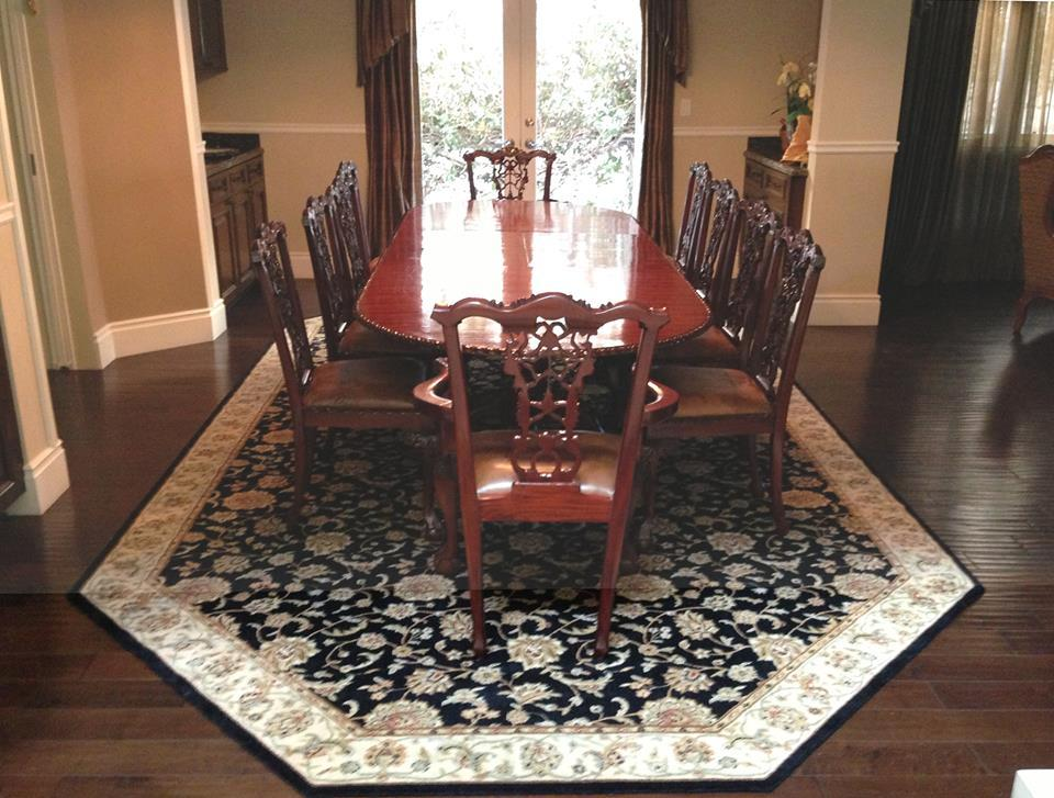Area Rug. With A Daring And Bold Octagon Shape, This Dining Room Was  Transformed Into A Classic Dining Space.