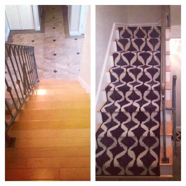 Custom Stair Runner . A Modern Custom Stair Runner With A Before And After  Look.